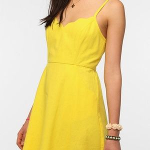 UO COPE yellow scalloped dress with pockets